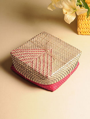 Palm Leaf Pink and Natural Gift Box (L - 9in, W - 9in, H - 3in)