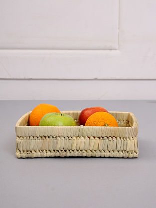 Palm Leaf Handcrafted Natural Tray(L-10in, W-7in, H-2.5in)