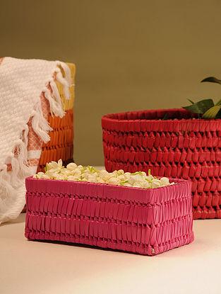 Palm Leaf Medium Red Rectangle Gift Box (L - 9in, W - 3.5in, H - 3.5in)