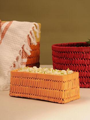 Palm Leaf Orange Rectangle Gift Box (L - 9in, W - 3.5in, H - 3.5in)