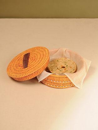 Palm Leaf Orange Chapati box (Dia - 10in, H - 4in)