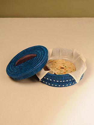 Palm Leaf Dark Blue Chapati box (Dia - 10in, H - 4in)