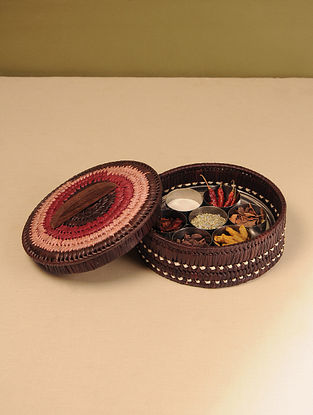 Palm Leaf Earth Combination Spice box (Dia - 10in, H - 4in)
