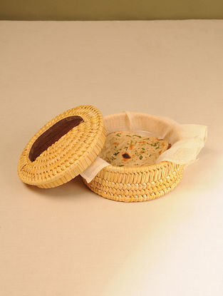 Palm Leaf Sunset Yellow Chapati box (Dia - 8.5in, H - 4.2in)