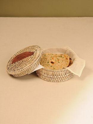 Palm Leaf Natural Chapati box (Dia - 8in, H - 4in)