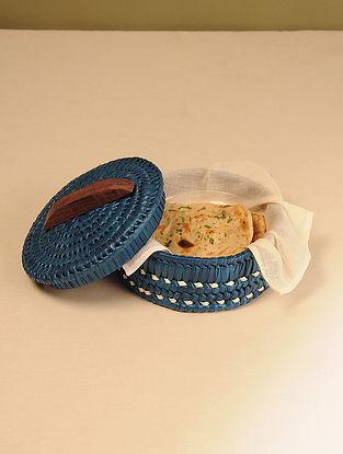 Palm Leaf Dark Blue Chapati box (Dia - 8in, H - 4.5in)