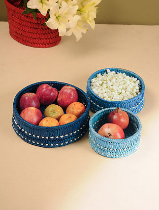 Palm Leaf Handcrafted Indian Sky Combination Nested Basket (Set of 3)(Dia-10in, H-4.2in)