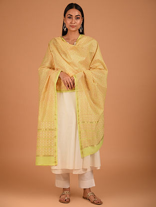Yellow Block Printed Chanderi Dupatta