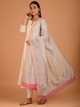 White Block Printed Chanderi Dupatta