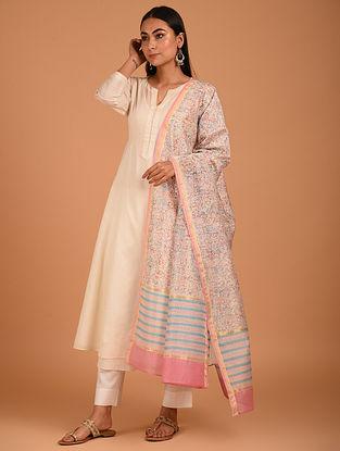 Pink Block Printed Chanderi Dupatta
