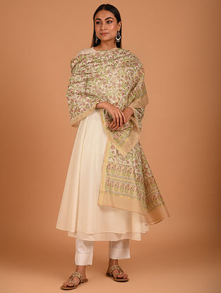Brown Block Printed Chanderi Dupatta
