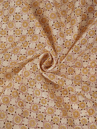 Ivory Beige Hand Block Printed Chanderi Fabric