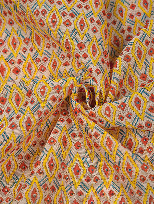 Multicolour Hand Block Printed Chanderi Fabric