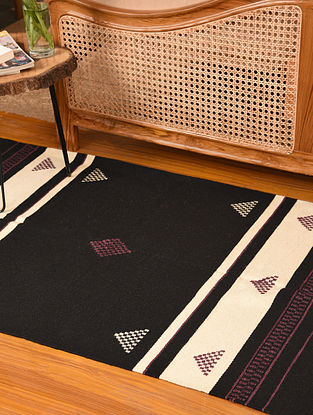 Multicolored Handwoven and Natural Dyed Jute and Cotton Carpet (L-5.2 ft, W-3.1 ft)