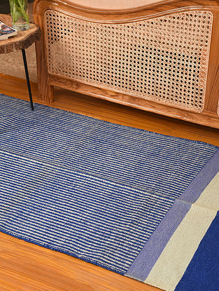 Multicolored Handwoven and Natural Dyed Jute and Cotton Carpet (L-5.10 ft, W-3.1 ft)