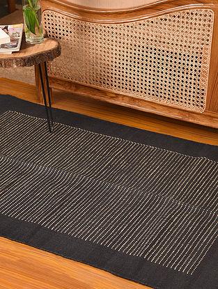 Natural Black Handwoven Jute and Cotton Carpet (L-4.11ft, W-3.2 ft)