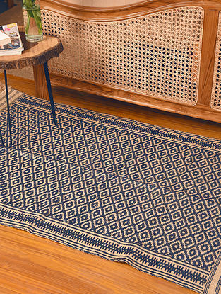 Natural Dyed Blue Handwoven Jute and Cotton Carpet (L-5 ft, W-3.1 ft)