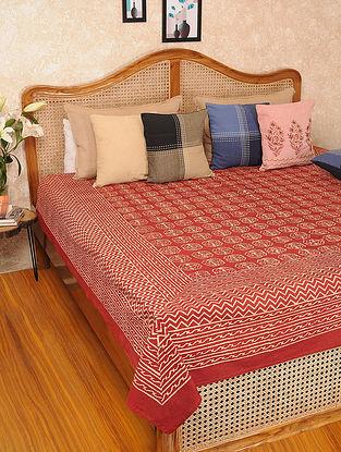 Rust Handblock Printed Cotton Double Bedspread (L-103in, W-86in)