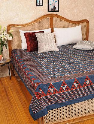 Multicolored Handblock Printed Cotton Double Bedspread (L-101in, W-84in)