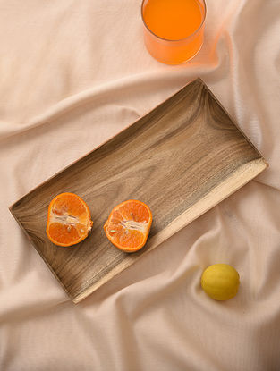 Natural Neem Wood Rectangle Tray (L - 12.6in, W - 6.6in)