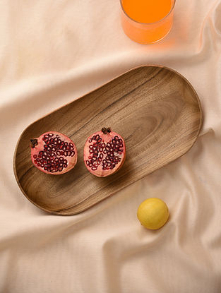 Natural Neem Wood Oval Tray (L - 13in, W - 6.6in)