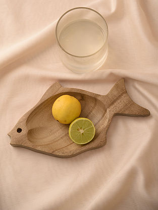 Natural Neem Wood Fish Tray (L - 10.1in, W - 5.5in)