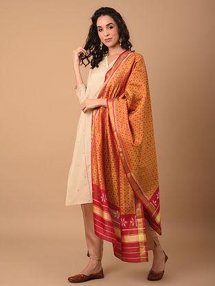 Orange Handloom Ikat Silk Dupatta