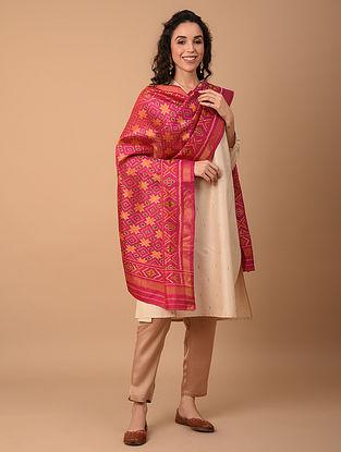 Pink Handloom Ikat Silk Dupatta