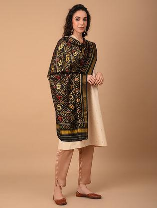 Black Handloom Ikat Silk Dupatta