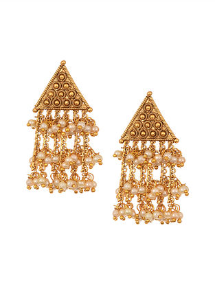 Gold Tone Temple Earrings With Pearls
