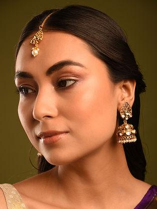 Gold Tone Kundan Jhumki Earrings with Maangtika