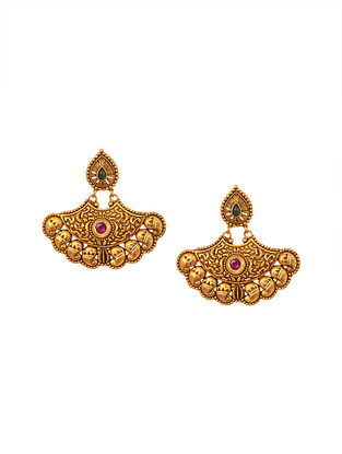 Red Green Gold Tone Temple Earrings