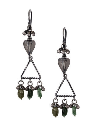 Tribal Silver Earrings with Emerald