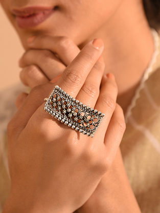 Tribal Silver Adjustable Two Finger Ring