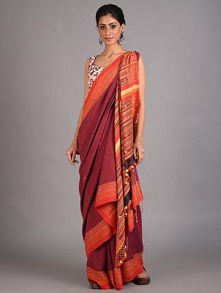 Maroon Handwoven  Cotton Bhujodi Saree