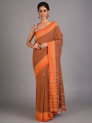 Brown Handwoven  Cotton Bhujodi Saree