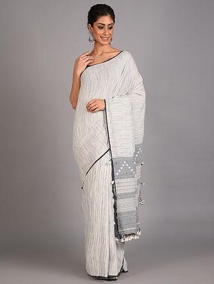White Handwoven  Cotton Bhujodi Saree