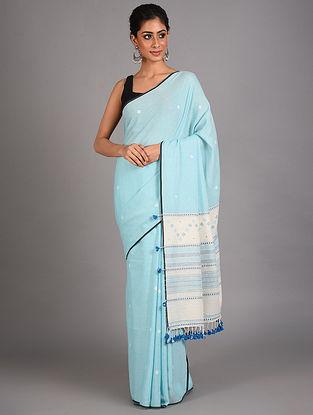 Blue Handwoven  Cotton Bhujodi Saree
