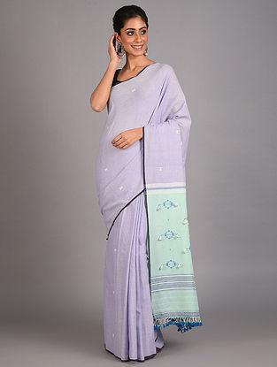 Purple Handwoven  Cotton Bhujodi Saree