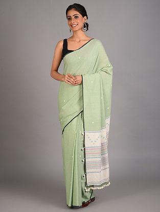 Green Handwoven  Cotton Bhujodi Saree