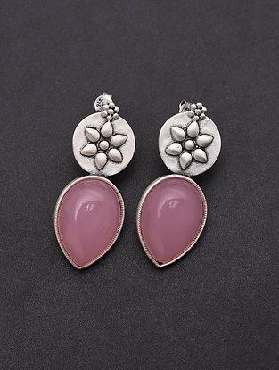 Pink Handmade Silver Earrings