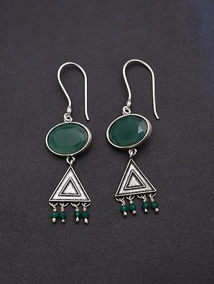 Green Handmade Silver Earrings