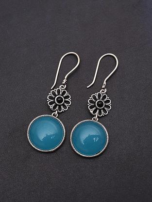 Aqua Blue Handmade Silver Earrings