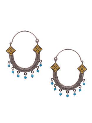 Blue Yellow Sterling Silver Earrings