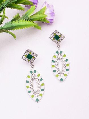 Green White Sterling Silver Earrings