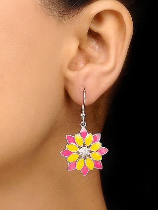 Yellow Pink Sterling Silver Earrings