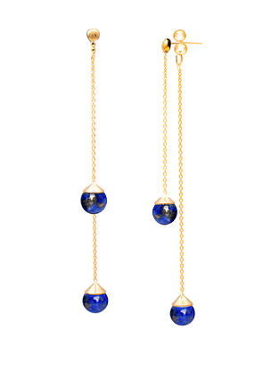 Blue Gold Plated Sterling Silver Earrings