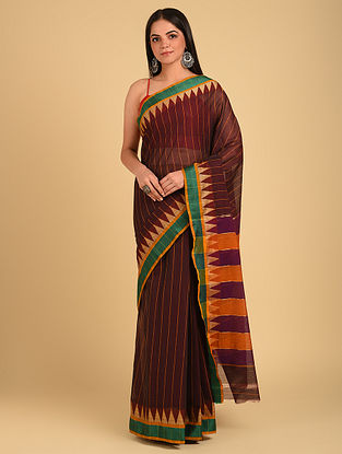 Brown Handloom Cotton Saree