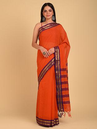 Orange Handloom Cotton Saree