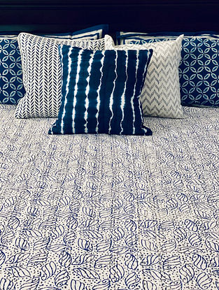 Indigo Blue and White Hand Block Printed And Hand Quilted Kantha Double Bed Cover (L - 107in, W - 87in)